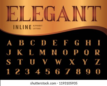 Vector of Elegant Alphabet Letters and numbers, Serif Inline fonts, Vintage and retro typography, Black Serif Letters set for Contemporary, Classical, Superior, Honor, Antique,