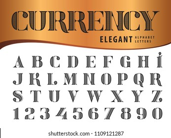 Vector of Elegant Alphabet Letters and numbers,Modern Serif Style fonts, Vintage and retro typography, Didot typeface,Line Letters set for Dollar Bill,Money,Currency,Label,Classic,Superior,Antique