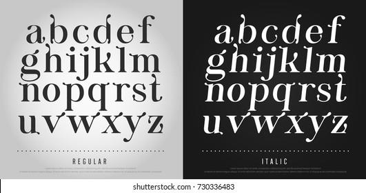 Vector elegant alphabet letters set. Exclusive Custom Letters. alphabet designs for logo, Poster, Invitation, etc. Typography font classic style, regular and italic vector illustrator.