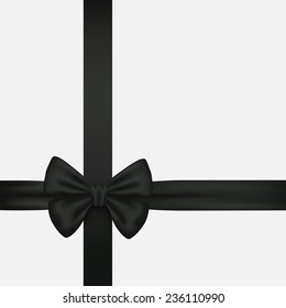 Vector. Elegant black bow with ribbons.
