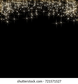 Vector elegant Christmas background with golden glitter stars, snowflakes and place for text.
