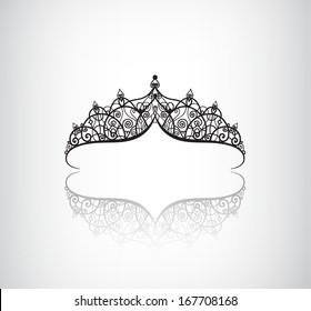 vector elegant decorated vintage crown logo, icon with detailed ornaments isolated