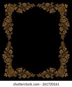 Vector Elegant decorative Russian khokhloma postcard frame