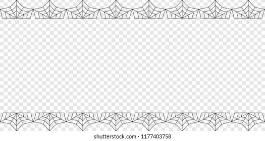 Vector elegant double up and down rectangle black spiderweb frame with copy space isolated on transparent background. Template for invitation, flyer, scrapbook or greeting card. Halloween border.