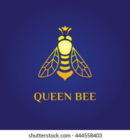 Vector elegant fancy, elegant, stylish, graceful logotype. Yellow logo at dark blue gradient background. Queen bee with the crown on its head Symbol for fashion, beauty, jewelry, honey, education.