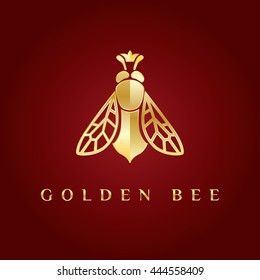 Vector elegant fancy, elegant, stylish, graceful, luxury, rich logotype. Golden logo at dark red gradient background. Queen bee with the crown on its head. Symbol for fashion, beauty, jewelry designer