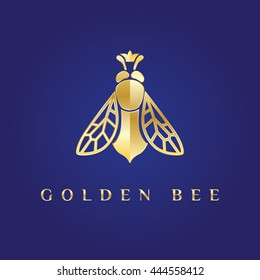 Vector elegant fancy, elegant, stylish, graceful, luxury, rich logotype. Golden logo at dark blue background. Queen bee with the crown on its head. Great symbol for fashion, beauty, jewelry, honey.