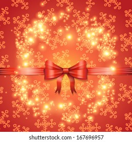 Vector elegant glittering Christmas card with bow and ribbon background illustration
