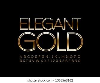 Vector Elegant Gold Alphabet Letters and Symbols. Uppercase Font for Fashion Marketing