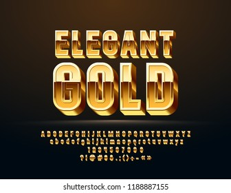 Vector Elegant Gold Alphabet. Luxury 3D Font. Set of Chic Letters, Numbers and Symbols