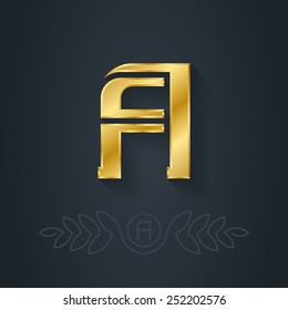 Vector elegant gold font. Letter A. Template for company logo with monogram element. 3d Design element or icon.