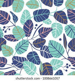 Vector elegant seamless background with foliage. Wedding endless  pattern. Leaves in pink and blue colors.