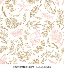 Vector elegant seamless background with foliage. Wedding endless  pattern in pink and gold colors. Leaves in line art style.