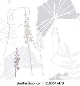 Vector elegant seamless background with foliage and flowers. Seamless pattern in light grey color. Leaves in line art style. Wedding invitation backdrop design.