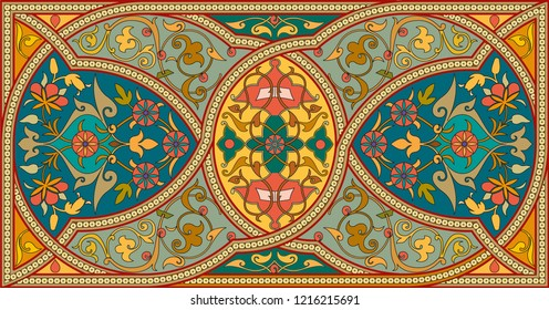 Vector element, arabesque for design template. Luxury ornament in Eastern style Islamic Ottoman Empire's era traditional