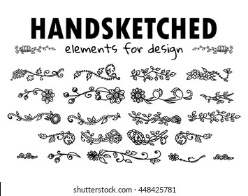 Vector element for design. Beautiful hand sketched doodle elements - Branch, leaves, flowers, vine, daisy, lily, herbal. Forest and trees theme, black on white. Set 4/5