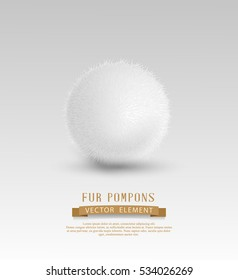 Vector element for design: a fur pompon (clump of snow) isolated on white background.