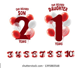 Vector element for design graphics for the birthday of the children of a son or daughter. registration of holidays and anniversaries. figures 1, 2, 3, 4, 5, 6, 7, 8, 9, 0 surrounded by inflatable ball