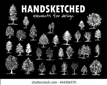 Vector element for design. Simple hand drawn sketches pictures. Big set of different kind of trees. Willow, pine, oak, aspen, birch, maple, chestnut. Chalkboard style