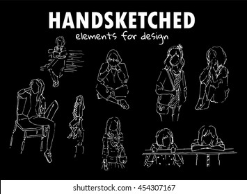Vector element for design. Simple hand drawn sketches pictures. Set of different kind of people. Outline silhouette girls resting on park. Chalkboard style. 1/2