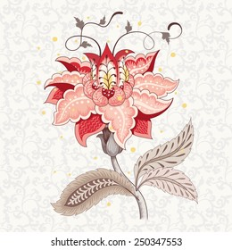 Vector element for ornament. Beautiful fantastic flower with leaves and tendrils. Delicate seamless background. Motives of vintage Indian fabrics. Tree of Life collection.