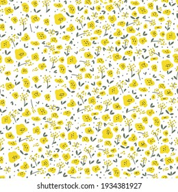 Vector element of seamless pattern. Little yellow flowers print. Template for paper design, cover, textile print