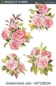 Vector element set with bouquet of rose flower, isolated on the white background. Beautiful realistic hand drawn watercolor