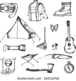 vector elements for adventure, drawn stroke