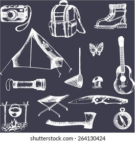 vector elements for adventure: tent, knife, boots, campfire, torch, bowler hat, a backpack, a camera, a hatchet,guitar