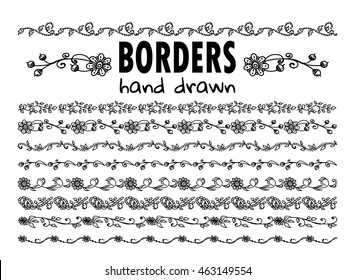 Vector elements for design. Collection of hand drawn borders. Template for web, photo, banners ornament. Branch, leaves, flowers, ivy, daisy, lily, herbal. Black on white. 8 from 11