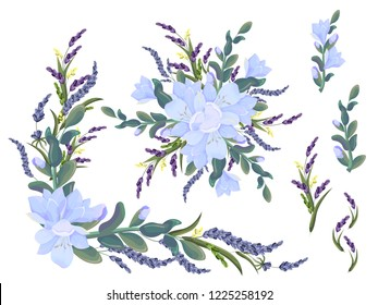 Vector elements for design. Corners, borders and bouquets of lavender and freesia. All elements are isolated.