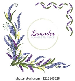 Vector elements for design. The corners of lavender. Vector lavender. All elements are isolated. Flowers of Provence.