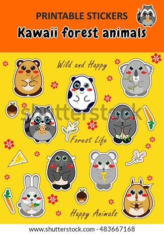 Image of: Pusheen Cat Kawaii Printable Stickers In Cute Cartoon Style Kawaii Forest Animals Shutterstock Vector Elements Design Kawaii Printable Stickers Stock Vector
