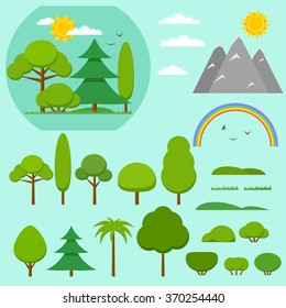 Vector elements for design nature landscape with trees, hills. sun, rainbow and bushes. Flat style illustration. Summer landscape