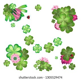 Vector elements of flowers and leaves of clover with ladybugs. Isolated objects. Transparent background.