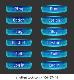 Vector elements for game design (GUI). Interface Set of vector buttons for the menu of the mobile games: arcade, shooter, space games or apps.