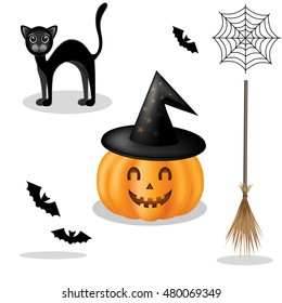Vector elements for Halloween. Pumpkin, bat, black cat, web, broom on an orange stripes background. Can be used as a poster, flyer, postcard, Web design