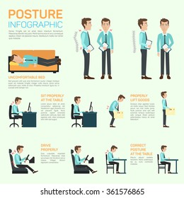 Vector elements of improving your posture. Sitting properly at the table, lift goods, drive, correct posture at the table. Concept of long and healthy life