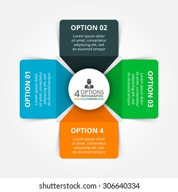 Vector elements for infographic. Template for cycle diagram, graph, presentation and round chart. Business concept with 4 options, parts, steps or processes. Abstract background.
