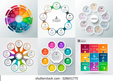 Vector elements for infographic. Template for cycle diagram, graph, presentation and round chart. Business concept with 9 options, parts, steps or processes. Abstract background.