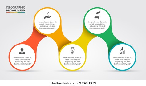 Vector elements for infographic. Template for cycling diagram, graph, presentation and round chart. Business concept with 5 options, parts, steps or processes. Abstract background