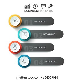 Vector elements for infographic. Template for diagram, graph, Business concept with 4 options, parts, steps or processes. Abstract background
