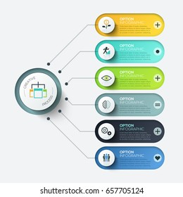 Vector elements for infographic. Template for diagram, graph, presentation and chart. Business concept with 6 options, parts, steps or processes. Abstract background