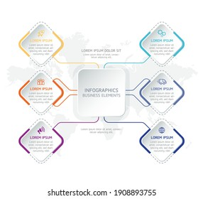 Vector elements for infographics. presentation and chart. steps or processes. options with numbers, workflow template design. 6 steps.