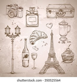 Vector elements of Paris with Eiffel Tower, perfume, Mademoiselle, cake, wine, croissant