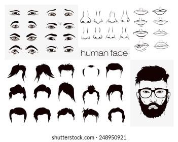 vector elements of a person face men