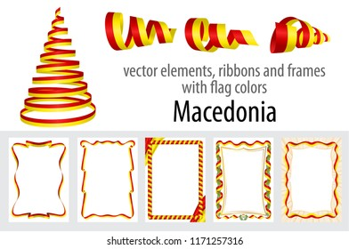 vector elements, ribbons and frames with flag colors Macedonia, template for your certificate and diploma.