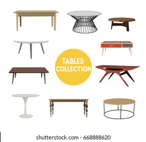 vector elements set. coffee and dining tables illustration. table interior design. home furniture.