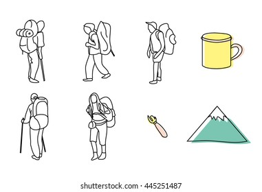 Vector elements set: tourists with backpacks, mugs, mountain, opener
