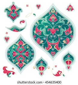 Vector elements, vignettes for design template. Luxury ornament in Eastern style. Turquoise floral illustration. Ornate decor for invitations, greeting cards, thank you message, labels, badges, tags.